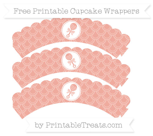 Free Pastel Coral Fish Scale Pattern Baby Rattle Scalloped Cupcake Wrappers