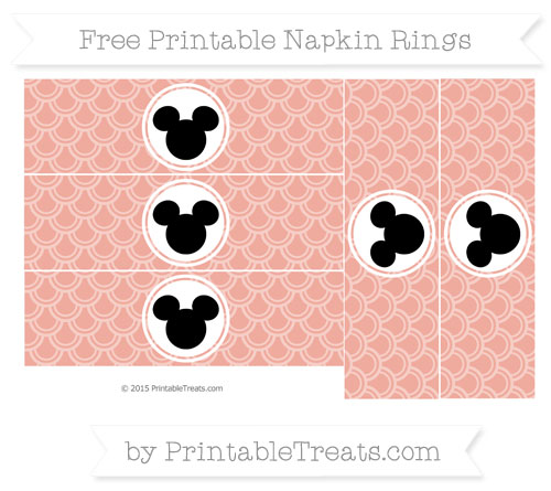 Free Pastel Coral Fish Scale Pattern Mickey Mouse Napkin Rings