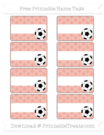 Free Pastel Coral Fish Scale Pattern Soccer Name Tags