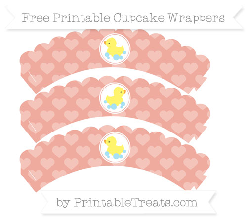 Free Pastel Coral Heart Pattern Baby Duck Scalloped Cupcake Wrappers