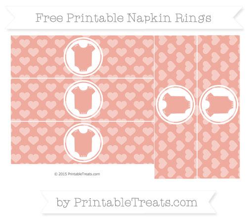 Free Pastel Coral Heart Pattern Baby Onesie Napkin Rings