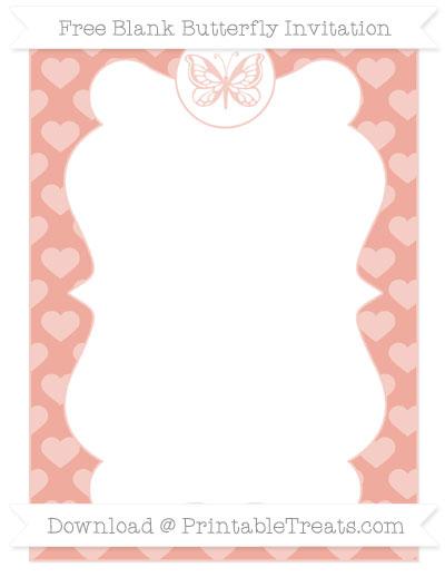 Free Pastel Coral Heart Pattern Blank Butterfly Invitation