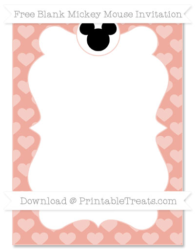 Free Pastel Coral Heart Pattern Blank Mickey Mouse Invitation