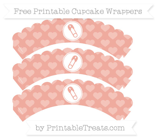 Free Pastel Coral Heart Pattern Diaper Pin Scalloped Cupcake Wrappers