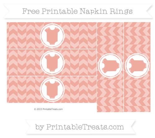 Free Pastel Coral Herringbone Pattern Baby Onesie Napkin Rings