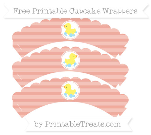 Free Pastel Coral Horizontal Striped Baby Duck Scalloped Cupcake Wrappers