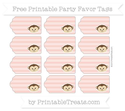 Free Pastel Coral Horizontal Striped Boy Monkey Party Favor Tags