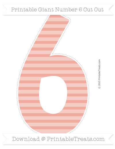 Free Pastel Coral Horizontal Striped Giant Number 6 Cut Out