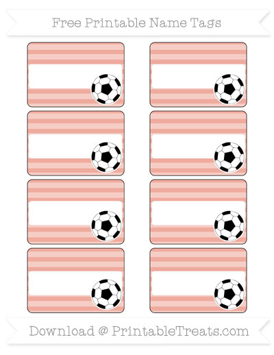 Free Pastel Coral Horizontal Striped Soccer Name Tags