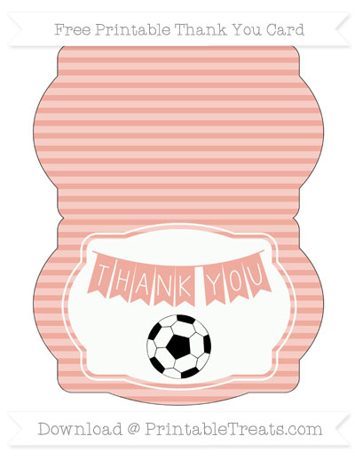 Free Pastel Coral Horizontal Striped Soccer Thank You Card
