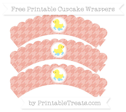 Free Pastel Coral Houndstooth Pattern Baby Duck Scalloped Cupcake Wrappers