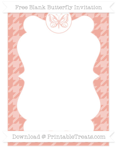 Free Pastel Coral Houndstooth Pattern Blank Butterfly Invitation