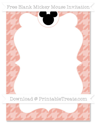 Free Pastel Coral Houndstooth Pattern Blank Mickey Mouse Invitation