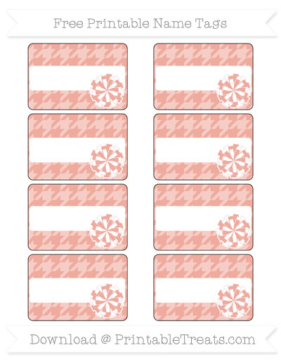 Free Pastel Coral Houndstooth Pattern Cheer Pom Pom Tags