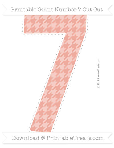 Free Pastel Coral Houndstooth Pattern Giant Number 7 Cut Out