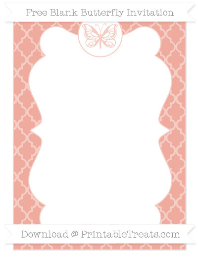 Free Pastel Coral Moroccan Tile Blank Butterfly Invitation