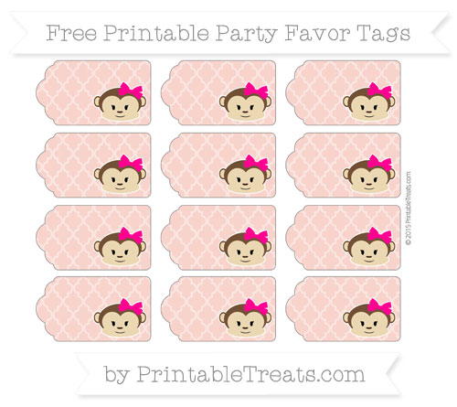 Free Pastel Coral Moroccan Tile Girl Monkey Party Favor Tags