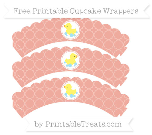 Free Pastel Coral Quatrefoil Pattern Baby Duck Scalloped Cupcake Wrappers