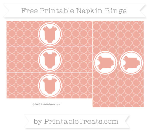 Free Pastel Coral Quatrefoil Pattern Baby Onesie Napkin Rings