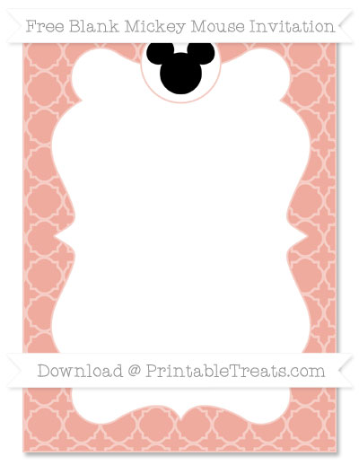 Free Pastel Coral Quatrefoil Pattern Blank Mickey Mouse Invitation