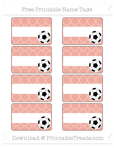 Free Pastel Coral Quatrefoil Pattern Soccer Name Tags