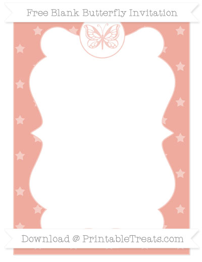 Free Pastel Coral Star Pattern Blank Butterfly Invitation