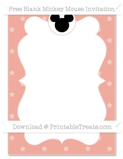 Free Pastel Coral Star Pattern Blank Mickey Mouse Invitation