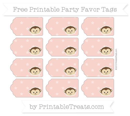 Free Pastel Coral Star Pattern Boy Monkey Party Favor Tags