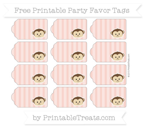 Free Pastel Coral Striped Boy Monkey Party Favor Tags