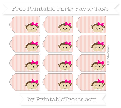 Free Pastel Coral Striped Girl Monkey Party Favor Tags