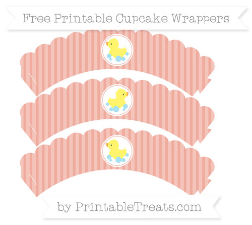 Free Pastel Coral Thin Striped Pattern Baby Duck Scalloped Cupcake Wrappers