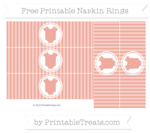 Free Pastel Coral Thin Striped Pattern Baby Onesie Napkin Rings