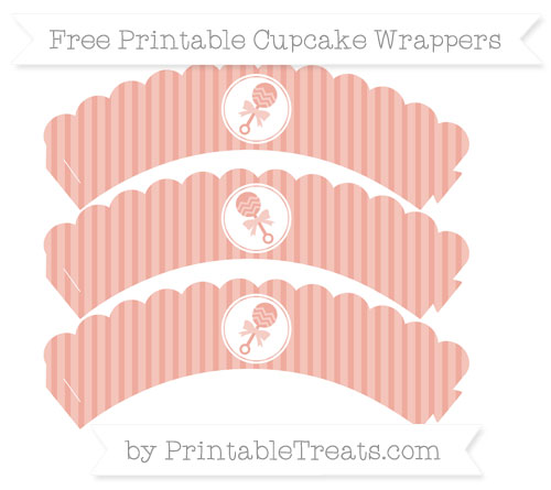 Free Pastel Coral Thin Striped Pattern Baby Rattle Scalloped Cupcake Wrappers