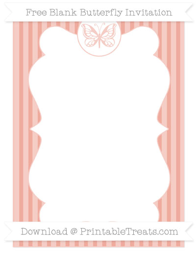 Free Pastel Coral Thin Striped Pattern Blank Butterfly Invitation