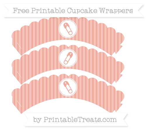 Free Pastel Coral Thin Striped Pattern Diaper Pin Scalloped Cupcake Wrappers