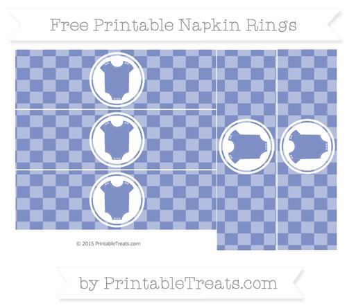Free Pastel Dark Blue Checker Pattern Baby Onesie Napkin Rings