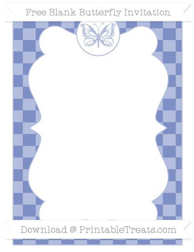 Free Pastel Dark Blue Checker Pattern Blank Butterfly Invitation