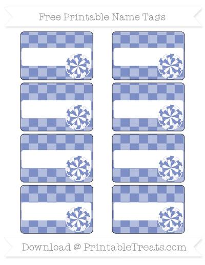 Free Pastel Dark Blue Checker Pattern Cheer Pom Pom Tags