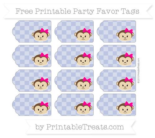 Free Pastel Dark Blue Checker Pattern Girl Monkey Party Favor Tags