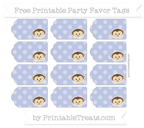 Free Pastel Dark Blue Dotted Pattern Boy Monkey Party Favor Tags