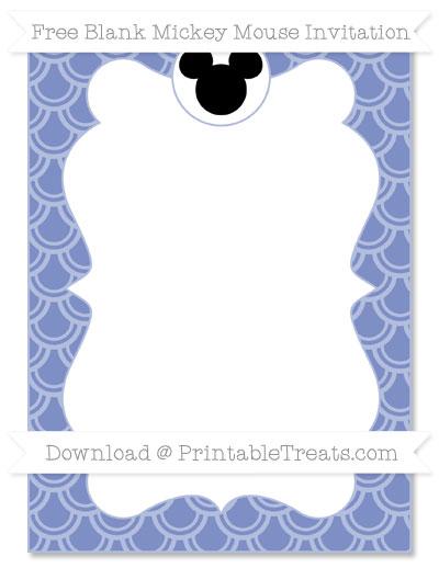 Free Pastel Dark Blue Fish Scale Pattern Blank Mickey Mouse Invitation