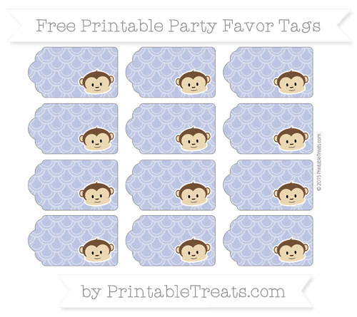 Free Pastel Dark Blue Fish Scale Pattern Boy Monkey Party Favor Tags