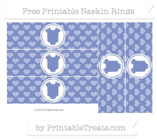 Free Pastel Dark Blue Heart Pattern Baby Onesie Napkin Rings
