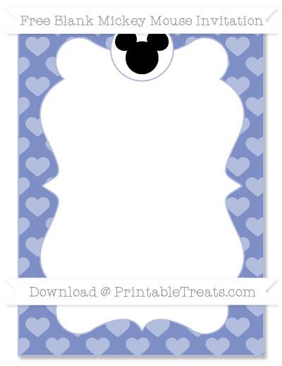 Free Pastel Dark Blue Heart Pattern Blank Mickey Mouse Invitation