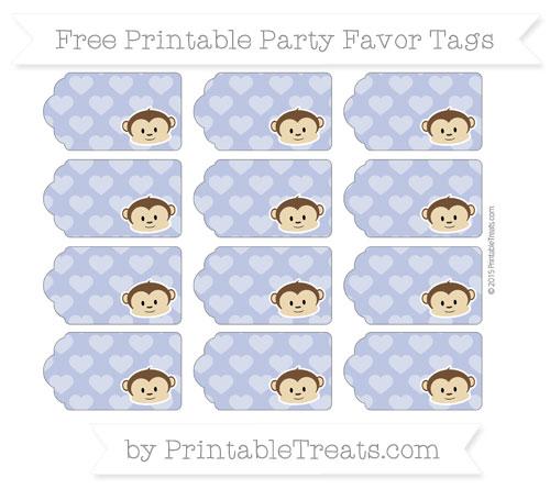 Free Pastel Dark Blue Heart Pattern Boy Monkey Party Favor Tags