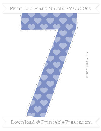 Free Pastel Dark Blue Heart Pattern Giant Number 7 Cut Out