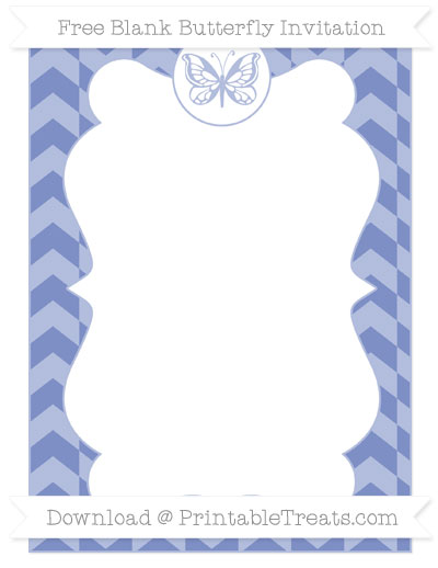 Free Pastel Dark Blue Herringbone Pattern Blank Butterfly Invitation