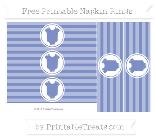 Free Pastel Dark Blue Horizontal Striped Baby Onesie Napkin Rings