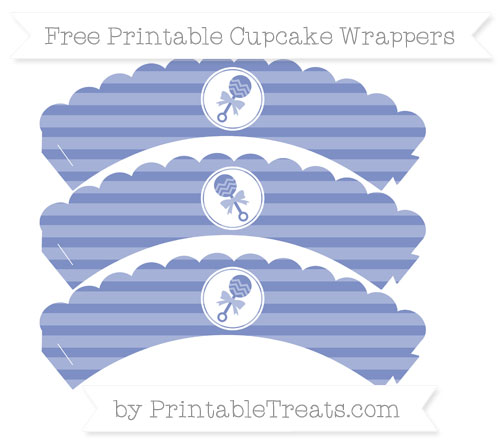 Free Pastel Dark Blue Horizontal Striped Baby Rattle Scalloped Cupcake Wrappers