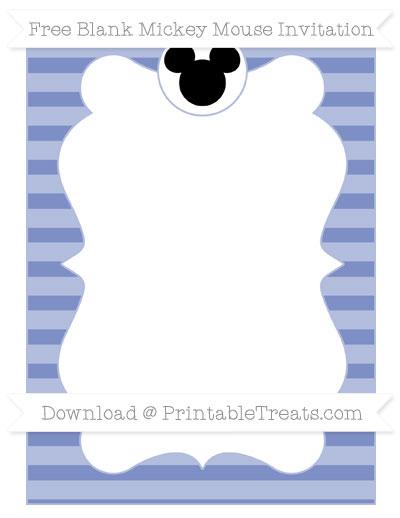 Free Pastel Dark Blue Horizontal Striped Blank Mickey Mouse Invitation